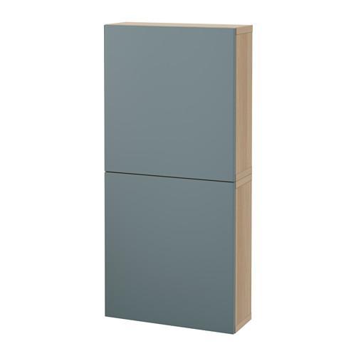 БЕСТО Навесной шкаф с 2 дверями - под беленый дуб/Вальвикен серо-бирюзовый
