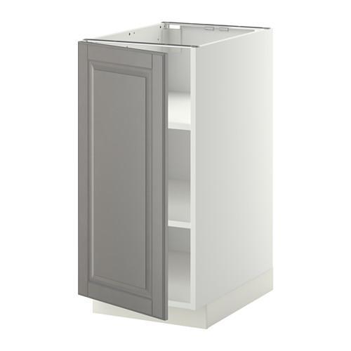 МЕТОД Напольный шкаф с полками - 40x60 см, Будбин серый, белый