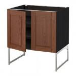МЕТОД Напол шкаф с полками/2двери - 80x60x60 см, Филипстад коричневый, под дерево черный