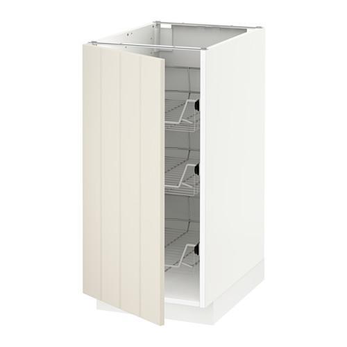 МЕТОД Напольный шкаф с проволочн ящиками - 40x60 см, Хитарп белый с оттенком, белый