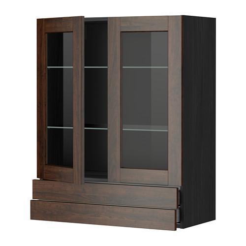 МЕТОД / МАКСИМЕРА Навесной шкаф/2 стек дв/2 ящика - 80x100 см, Эдсерум под дерево коричневый, под дерево черный