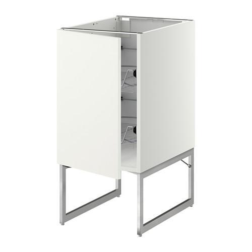 МЕТОД Напольный шкаф с проволочн ящиками - 40x60x60 см, Хэггеби белый, белый