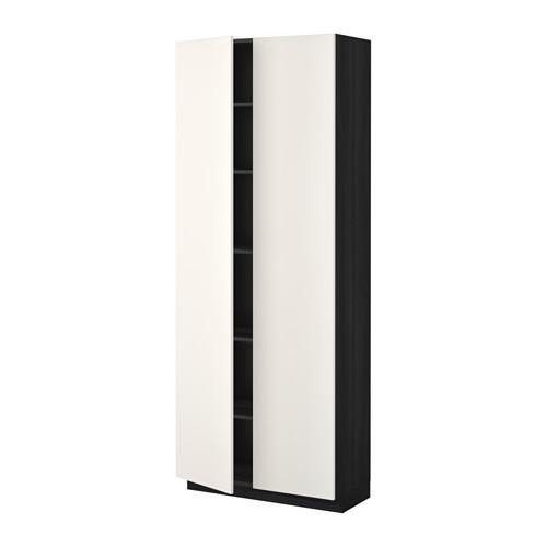 МЕТОД Высок шкаф с полками - 80x37x200 см, Веддинге белый, под дерево черный