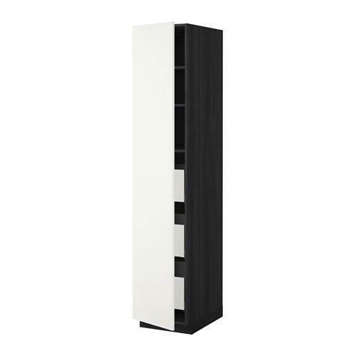 МЕТОД / МАКСИМЕРА Высокий шкаф с ящиками - 40x60x200 см, Хэггеби белый, под дерево черный
