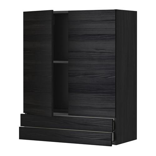 МЕТОД / МАКСИМЕРА Навесной шкаф/2дверцы/2ящика - 80x100 см, Тингсрид под дерево черный, под дерево черный