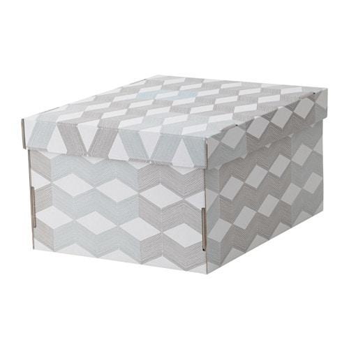 СМЕКА Коробка с крышкой - белый/с рисунком