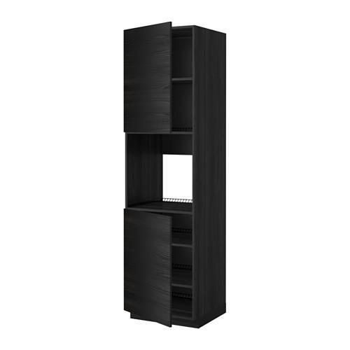 KAEDAH Kabinet tinggi untuk ketuhar / pintu 2 / rak - untuk kayu hitam, Tingsried untuk kayu hitam, 60x60x220 cm
