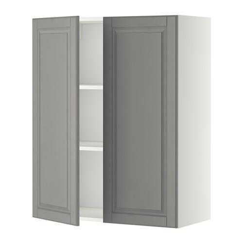 МЕТОД Навесной шкаф с полками/2дверцы - 80x100 см, Будбин серый, белый