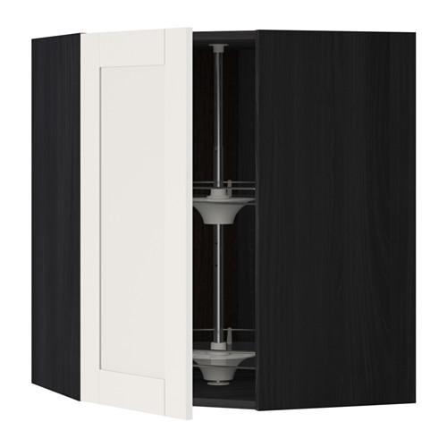 МЕТОД Угл нвсн шкф с вращающ секц - 68x80 см, Сэведаль белый, под дерево черный