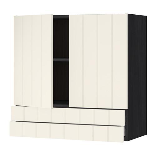 МЕТОД / МАКСИМЕРА Навесной шкаф/2дверцы/2ящика - 80x80 см, Хитарп белый с оттенком, под дерево черный