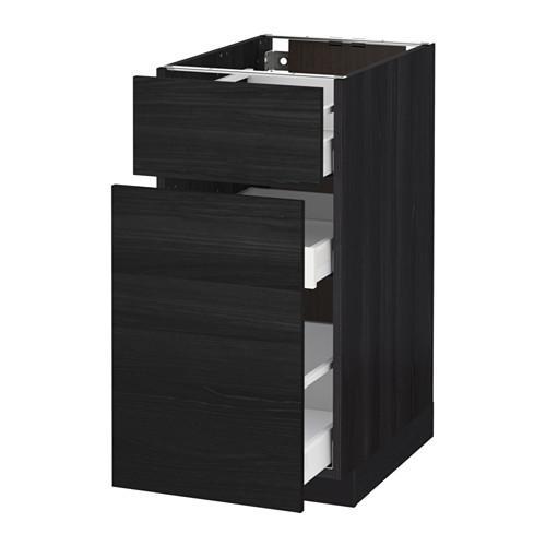 МЕТОД / МАКСИМЕРА Напольн шкаф/выдвижн секц/ящик - 40x60 см, Тингсрид под дерево черный, под дерево черный