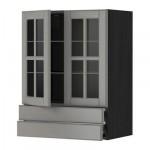 МЕТОД / ФОРВАРА Навесной шкаф/2 стек дв/2 ящика - 60x80 см, Будбин серый, под дерево черный