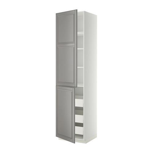 МЕТОД / МАКСИМЕРА Высокий шкаф+полки/3 ящика/2 дверцы - белый, Будбин серый, 60x60x240 см