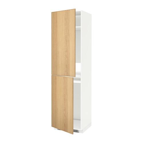 МЕТОД Высок шкаф д холодильн/мороз - 60x60x220 см, Экестад дуб, белый