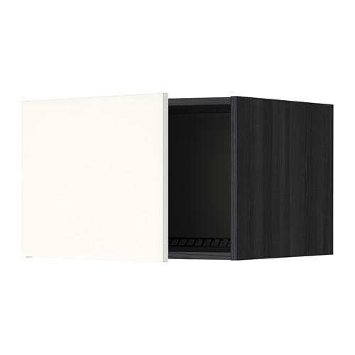 МЕТОД Верх шкаф на холодильн/морозильн - 60x40 см, Хэггеби белый, под дерево черный
