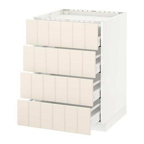МЕТОД / МАКСИМЕРА Напольн шкаф/4фронт пнл/4ящика - 60x60 см, Хитарп белый с оттенком, белый