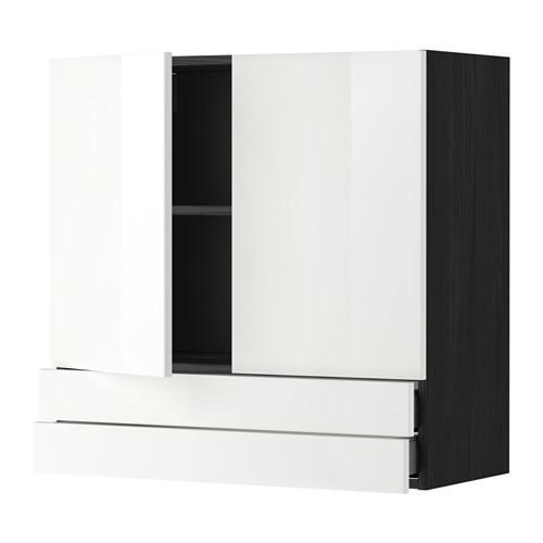 МЕТОД / МАКСИМЕРА Навесной шкаф/2дверцы/2ящика - 80x80 см, Рингульт глянцевый белый, под дерево черный