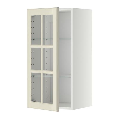 МЕТОД Навесной шкаф с полками/стекл дв - 40x80 см, Будбин белый с оттенком, белый