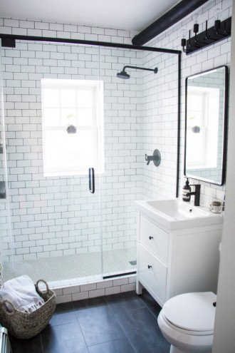 Interior of a modern bathroom with HEMNES