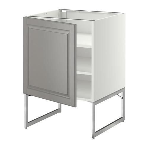 МЕТОД Напольный шкаф с полками - 60x60x60 см, Будбин серый, белый
