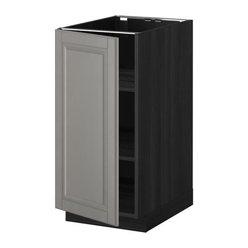 МЕТОД Напольный шкаф с полками - 40x60 см, Будбин серый, под дерево черный