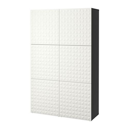 БЕСТО Комбинация для хранения с дверцами - черно-коричневый/Дьюпвикен белый