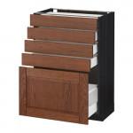 МЕТОД / МАКСИМЕРА Напольный шкаф с 5 ящиками - 60x37 см, Филипстад коричневый, под дерево черный