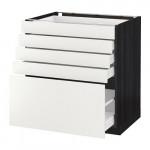 МЕТОД / МАКСИМЕРА Напольный шкаф с 5 ящиками - 80x60 см, Хэггеби белый, под дерево черный