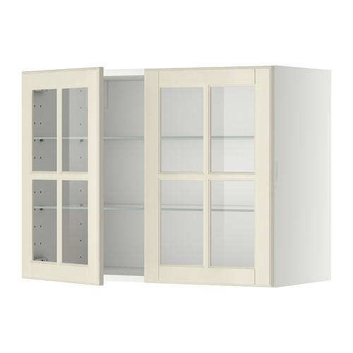 МЕТОД Навесной шкаф с полками/2 стекл дв - 80x60 см, Будбин белый с оттенком, белый