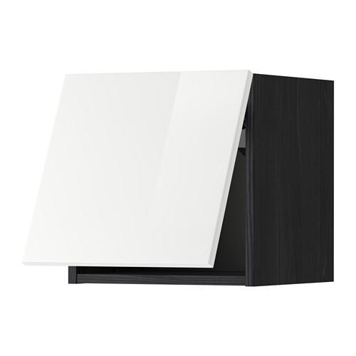 МЕТОД Горизонтальный навесной шкаф - 40x40 см, Рингульт глянцевый белый, под дерево черный