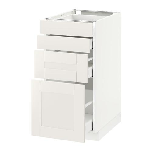 МЕТОД / МАКСИМЕРА Напольн шкаф 4 фронт панели/4 ящика - 40x60 см, Сэведаль белый, белый
