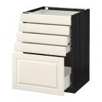 МЕТОД / ФОРВАРА Напольный шкаф с 5 ящиками - 60x60 см, Будбин белый с оттенком, под дерево черный