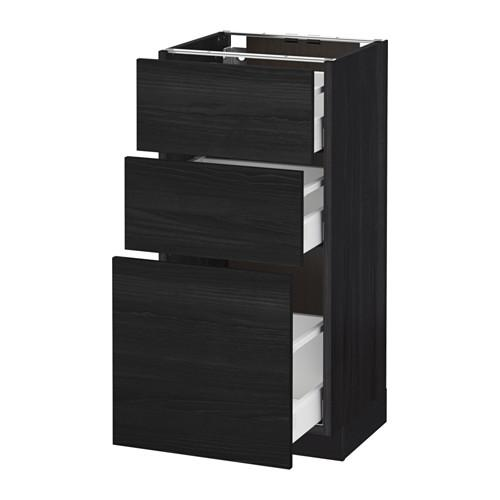 МЕТОД / МАКСИМЕРА Напольный шкаф с 3 ящиками - 40x37 см, Тингсрид под дерево черный, под дерево черный