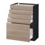 МЕТОД / МАКСИМЕРА Напольный шкаф с 5 ящиками - 60x37 см, Брокхульт под грецкий орех светло-серый, под дерево черный