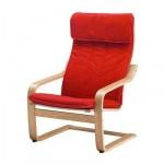 Poeng Fauteuil - Alma rouge classique, placage chêne