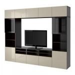 БЕСТО Шкаф для ТВ, комбин/стеклян дверцы - черно-коричневый/Сельсвикен глянцевый/бежевый прозрачное стекло, направляющие ящика,нажимные