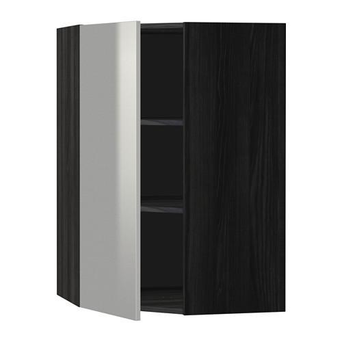 МЕТОД Угловой навесной шкаф с полками - 68x100 см, Гревста нержавеющ сталь, под дерево черный