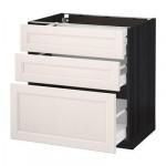 МЕТОД / МАКСИМЕРА Напольный шкаф с 3 ящиками - 80x60 см, Лаксарби белый, под дерево черный