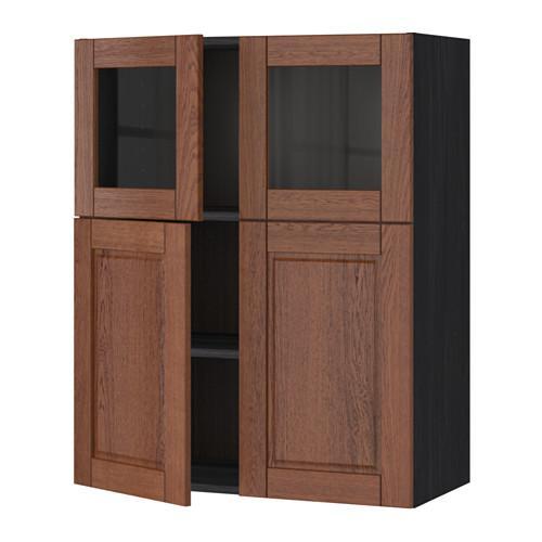 МЕТОД Навесной шкаф/полки/2дв/2стек дв - Филипстад коричневый, под дерево черный