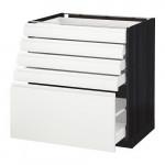 МЕТОД / МАКСИМЕРА Напольный шкаф с 5 ящиками - под дерево черный, Воксторп белый, 80x60 см
