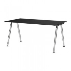 GALANT Desk - black glass, A-shaped leg, chrome
