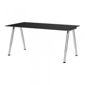 ГАЛАНТ Письменный стол - стекло черный, А-образная ножка, хромированный