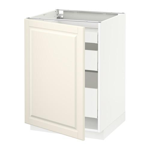 МЕТОД / МАКСИМЕРА Напольный шкаф с 1двр/3ящ - 60x60 см, Будбин белый с оттенком, белый