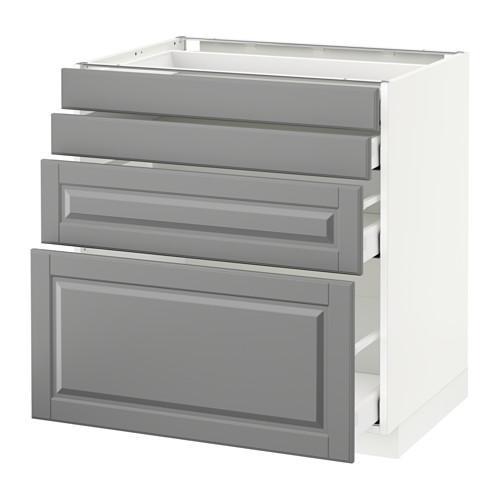 МЕТОД / МАКСИМЕРА Напольн шкаф 4 фронт панели/4 ящика - 80x60 см, Будбин серый, белый
