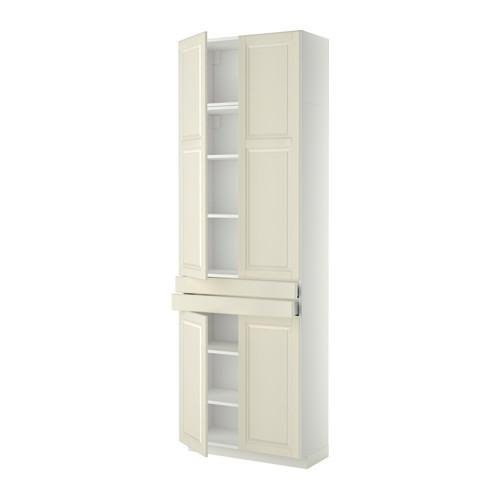 МЕТОД / МАКСИМЕРА Высокий шкаф+полки/2 ящика/4 дверцы - Будбин белый с оттенком, белый