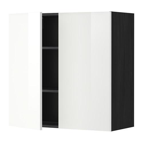 МЕТОД Навесной шкаф с полками/2дверцы - 80x80 см, Рингульт глянцевый белый, под дерево черный