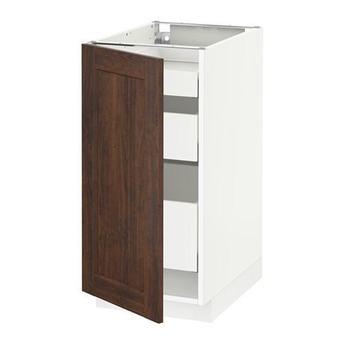 МЕТОД / МАКСИМЕРА Напольный шкаф с 1двр/3ящ - 40x60 см, Эдсерум под дерево коричневый, белый