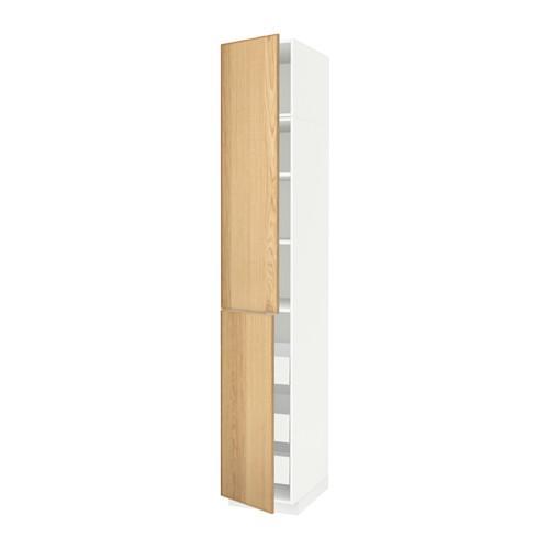 МЕТОД / МАКСИМЕРА Высокий шкаф+полки/3 ящика/2 дверцы - 40x60x240 см, Экестад дуб, белый
