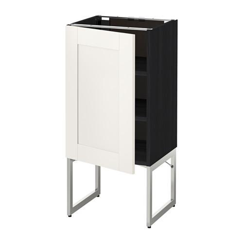 МЕТОД Напольный шкаф с полками - 40x37x60 см, Сэведаль белый, под дерево черный