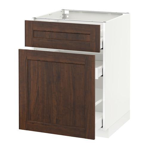 МЕТОД / МАКСИМЕРА Напольн шкаф/выдвижн секц/ящик - 60x60 см, Эдсерум под дерево коричневый, белый